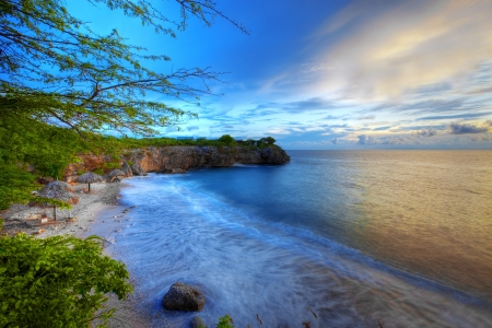 Sunset at Jeremi beach on Curacao, Caribbean . Stock Photo