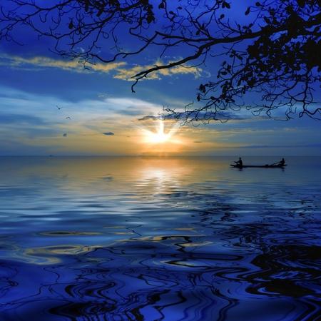 Sunset at White Sandy beach, Koh Chang, Thailand