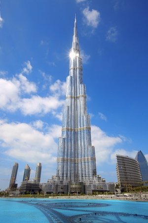 tallest: DUBAI, UAE - FEBRUARY 19: Burj Khalifa, the worlds tallest building at Sheikh Zayed Road taken February 19, 2011 in Dubai, United Arab Emirates. Burj Khalifa is 828m high.