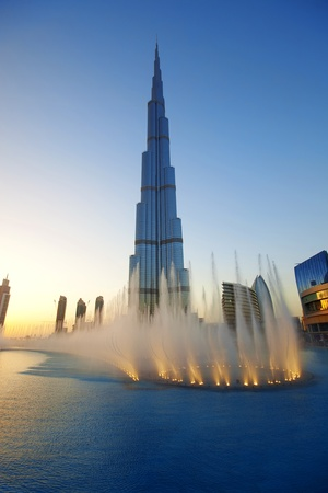 DUBAI, UAE - FEB 19: The Burj Khalifa, tallest building in the world, taken on February 19, 2011 in Dubai. In front is The Dubai Fountain show, a fountain system set on the 30-acre Burj Khalifa Lake.