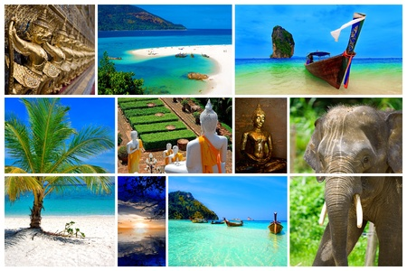 Collage of pictures from the beauty of Thailand