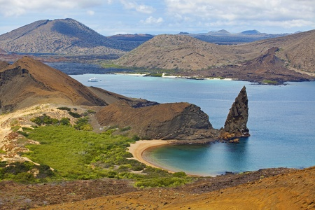 pin�culo: Vista de la cumbre de Bartolom�, Gal�pagos Foto de archivo