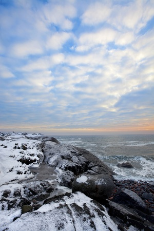 Sunset in wintertime at the Norwegian coast, Moelen Stock Photo - 12442376