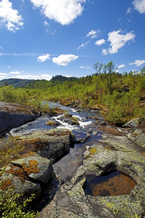 Water flowing down the river in the Norwegian mountains photo