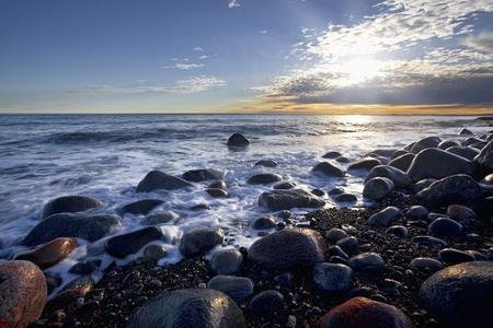 Sunset in wintertime at the Norwegian coast, Moelen Stock Photo - 12786270