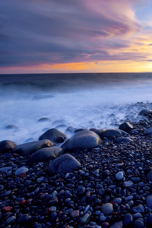 Sunset in spring at the Norwegian coast, Moelen Stock Photo - 12786304