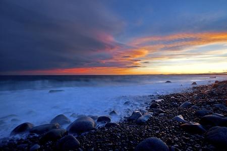 Sunset in spring at the Norwegian coast, Moelen Stock Photo - 12786313