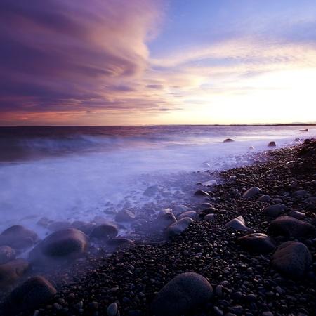 Sunset in spring at the Norwegian coast, Moelen Stock Photo - 12928504