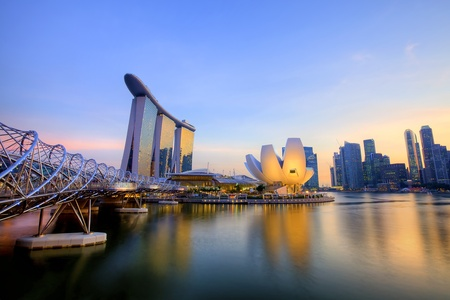 Sunset scene from the financial district,Singapore  From the river  Editorial