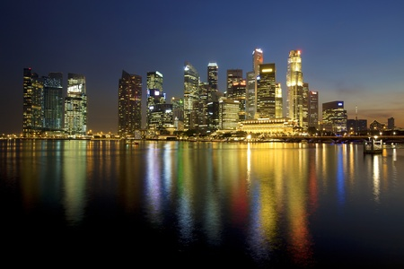 merlion: Sunset scene from the financial district,Singapore  From the river  Stock Photo