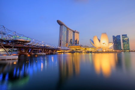 marina water: Sunset scene from the financial district,Singapore  From the river  Editorial