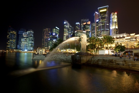 merlion: Sunset scene from the financial district,Singapore  From the river  Editorial