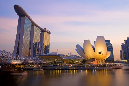 marina bay: Sunset scene from the financial district,Singapore  From the river  Editorial
