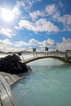grindavik: The Blue Lagoon on a sunny day in Iceland