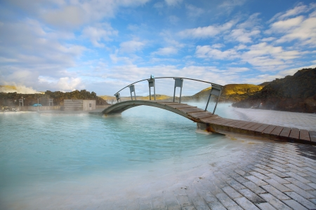 hot spring: The Blue Lagoon on a sunny day in Iceland