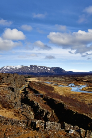 Thingvellir national park is the site of a rift valley that marks the crest of the Mid-Atlantic Ridge Stock Photo - 13721148