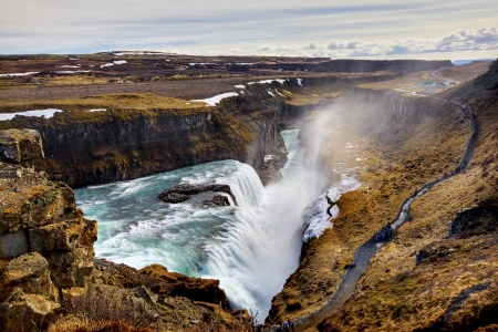 Gullfoss Waterfall on a sunny day in Iceland photo