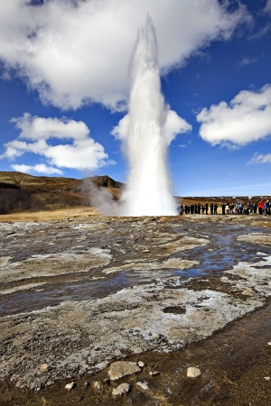 icelandic: Icelandic Geyser erupts, with blue sky in the background Stock Photo