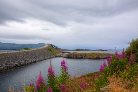 Atlantic Road and beautiful nature on a cloudy day photo