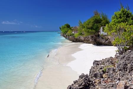 zanzibar: Kristalhelder water bij Zanzibar strand in Tanzania Stockfoto