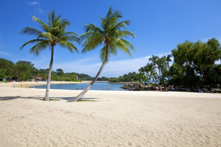 Sunny day on a beautiful beach on Sentosa Island