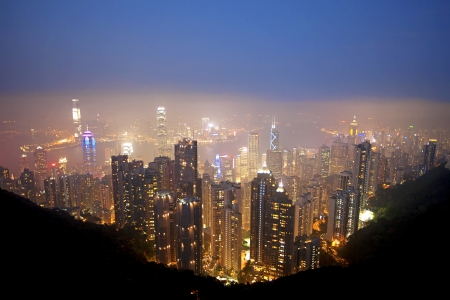 Honk Kong Skyline seen from The Peak photo