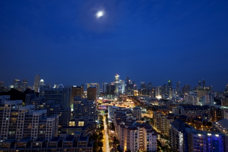 View of Singapore cityscape at night photo