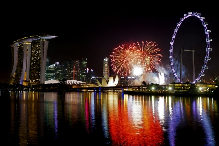 marina bay: Fireworks over Marina bay in Singapore