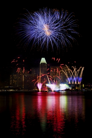 Fireworks over Min Singapore on National day rehersal