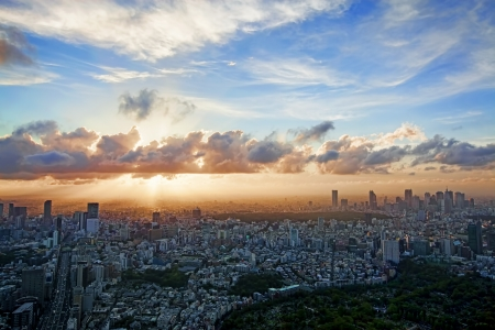 View from Roppongi Hills over Tokyo city at sunset