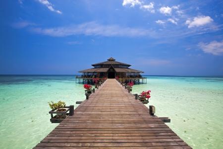 sandakan: Lankayan island resort at daytime in Borneo, Malaysia