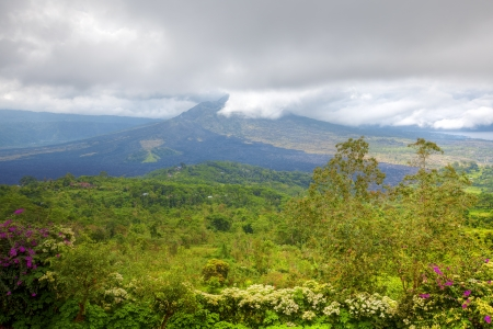 View of the still active Mount Batur in Bali photo