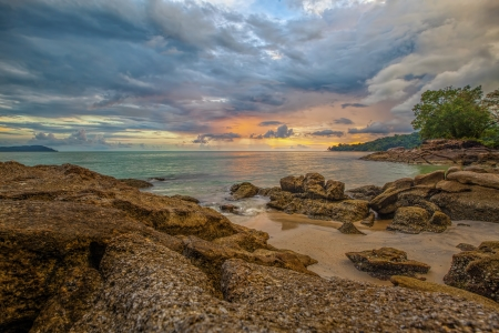 langkawi island: Sunset over a beach on Langkawi island Stock Photo