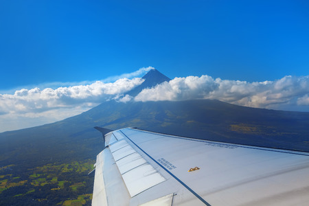 mayon: The active Mt Mayon seen from an airplane Stock Photo