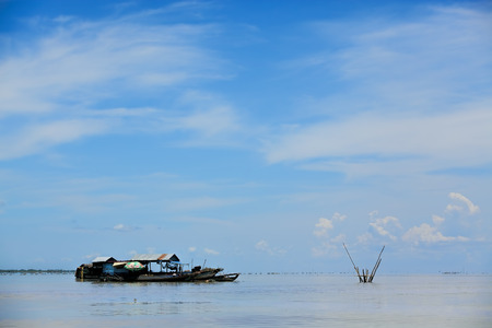 The floating village on Tonle Sap lake photo