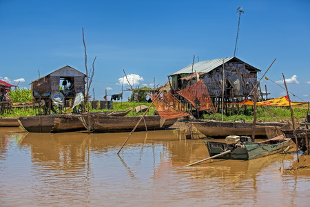 Everyday life along Tonle Sap river,Siem Reap province, Cambodia