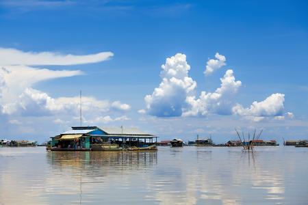 The floating village on Tonle Sap lake photo