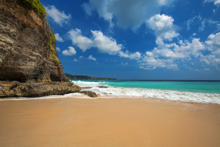 turqoise: Surf waves and turqoise water along the coast of Bali Stock Photo