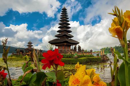 ulun: Ulun Danu temple at Beratan Lake in Bali Indonesia Stock Photo