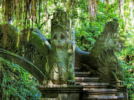 sanctuary: Dragon sculptures in the monkey forest, Bali, Indonesia