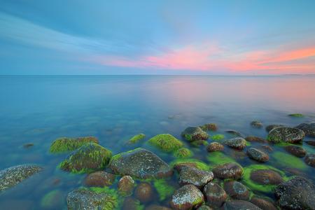 purple sunset: Sunset at Moelen Stock Photo