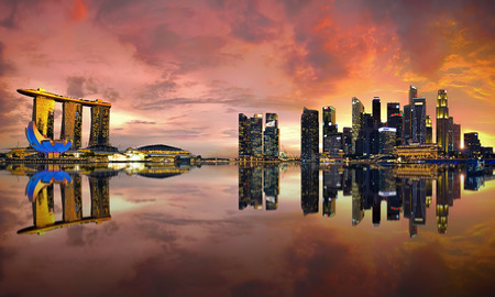 View of Singapore city skyline at sunset Stock Photo