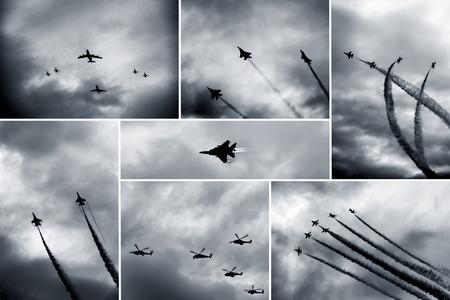 Collage blanco y negro retro de espectáculos de aviones Foto de archivo