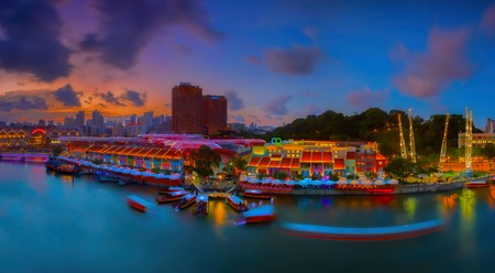 quay: Panoramic view of Clarke Quay, Singapore, in the evening