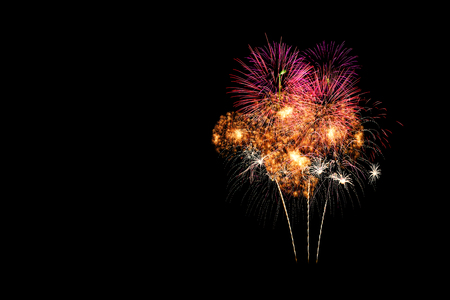 Fireworks display isolated on a black background