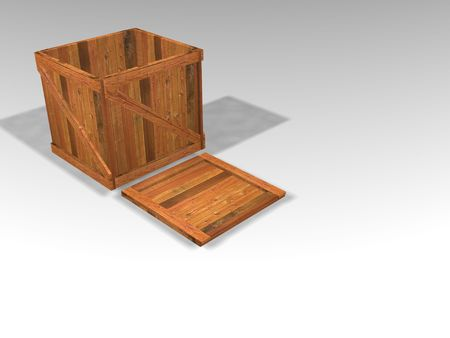 3D render of wooden crate photo