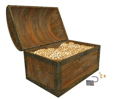 Treasure chest full of gold coins Stock Photo - 371571