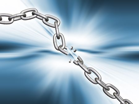 linking: Breaking chain - 3D render