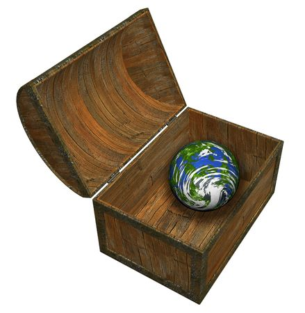 Earth in a chest - 3D render Stock Photo - 378926
