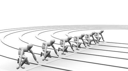 Starting line - 3D render photo